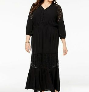Style & Co Black Lace Panel Maxi Dress
